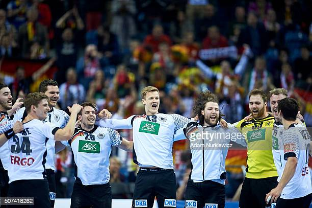 Erik Schmidt and Kai Hafner and Niclas Pieczkowski and Johannes Sellin and goalkeeper Andreas Wolff and Julius Kuhn all from Germany celebrate with...