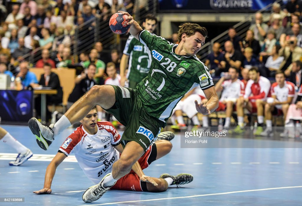 Erik Schmidt of Fuechse Berlin during the game between Fuechse Berlin and the Eulen Ludwigshafen on September 3, 2017 in Berlin, Germany.
