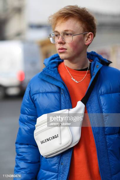 3b1741f003ed Erik Scholz wearing a Topman jacket and sweater Balenciaga Triple S  Balenciaga belt bagon January 23