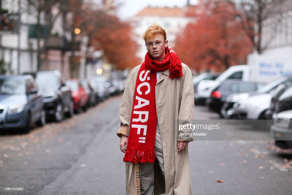 cd53b16765ad Erik Scholz wearing an Off White scarf and Burberry coat on October ...