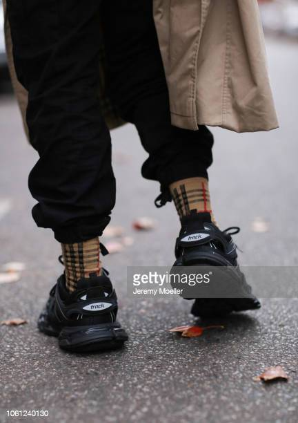 Erik Scholz wearing Balenciaga track shoes and Burberry socks on October 28 2018 in Berlin Germany