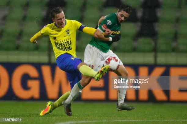 Erik Schouten of SC Cambuur, Pedro Marques of FC Dordrecht during the Dutch Keuken Kampioen Divisie match between FC Dordrecht v SC Cambuur at the...