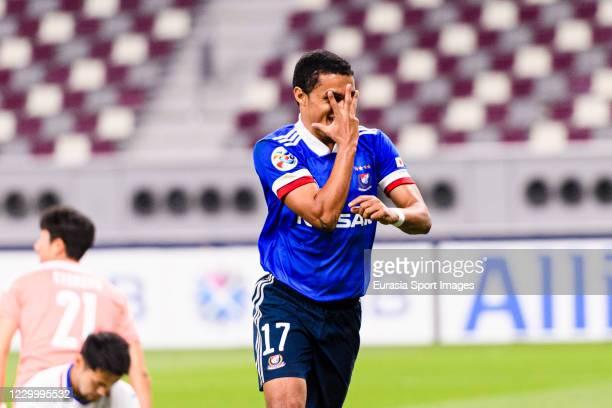 Erik Siqueira of Yokohama Marinos celebrates his goal during the AFC Champions League Round of 16 match between Yokohama F.Marinos and Suwon Samsung...