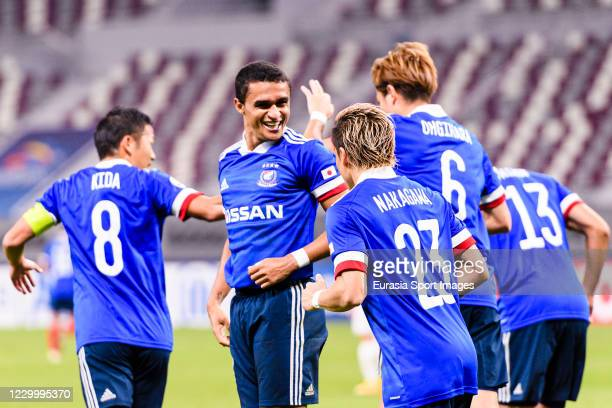 Erik Siqueira of Yokohama Marinos celebrating his goal with his teammates during the AFC Champions League Round of 16 match between Yokohama...