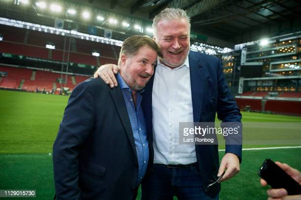 Erik Skjarbak , member of the board of FC Copenhagen Parken Sport and entertainment speaks to Lars Seier Christensen, new shareholder of FC...