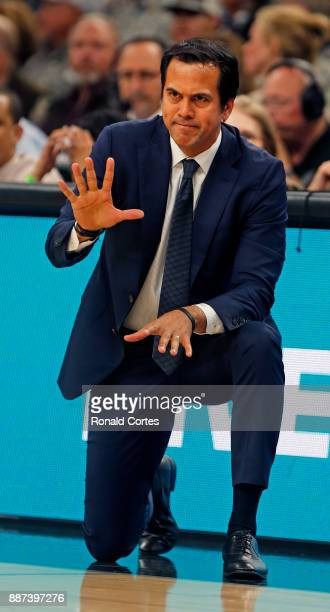 Erik Spoelstra head coach of the Miami Heat motions to his team during game against the San Antonio Spurs at ATT Center on December 06 2017 in San...