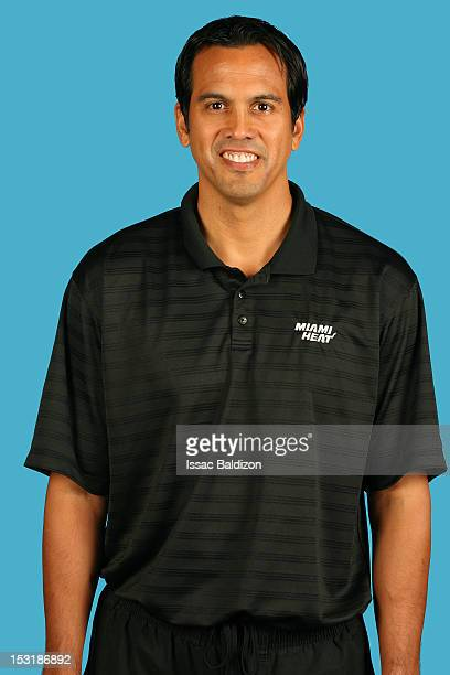 Erik Spoelstra head coach of the Miami Heat poses for a portrait during the Miami Heat Media Day on September 28 2012 at American Airlines Arena in...