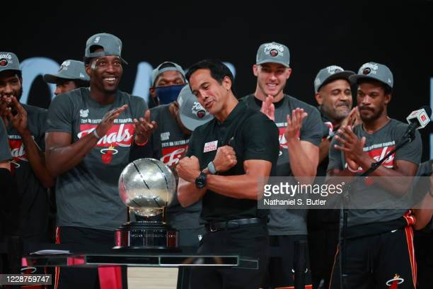 Erik Spoelstra of the Miami Heat celebrates after winning Game Six of the Eastern Conference Finals of the NBA Playoffs on September 26, 2020 at The...