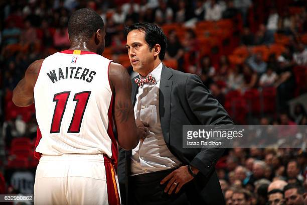 Erik Spoelstra of the Miami Heat coaches Dion Waiters of the Miami Heat during the game against the Detroit Pistons on January 28 2017 at...