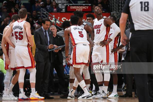 Erik Spoelstra of the Miami Heat draws up a play in the huddle during the game on March 6 2020 at the Smoothie King Center in New Orleans Louisiana...