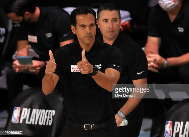 Erik Spoelstra of the Miami Heat during the first quarter against the Milwaukee Bucks during the first quarter in Game Three of the Eastern...