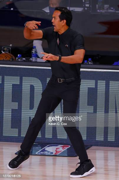 Erik Spoelstra of the Miami Heat reacts during the first quarter against the Boston Celtics in Game Two of the Eastern Conference Finals during the...