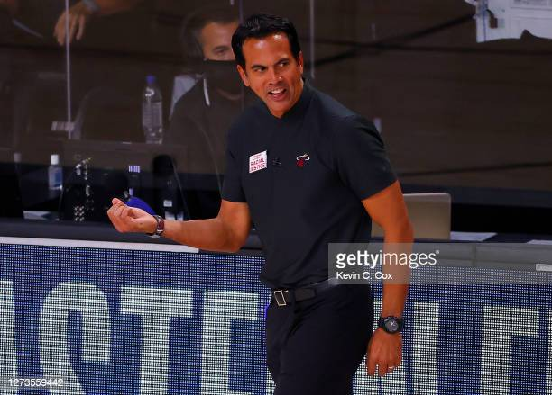 Erik Spoelstra of the Miami Heat reacts during the first quarter against the Boston Celtics in Game Three of the Eastern Conference Finals during the...