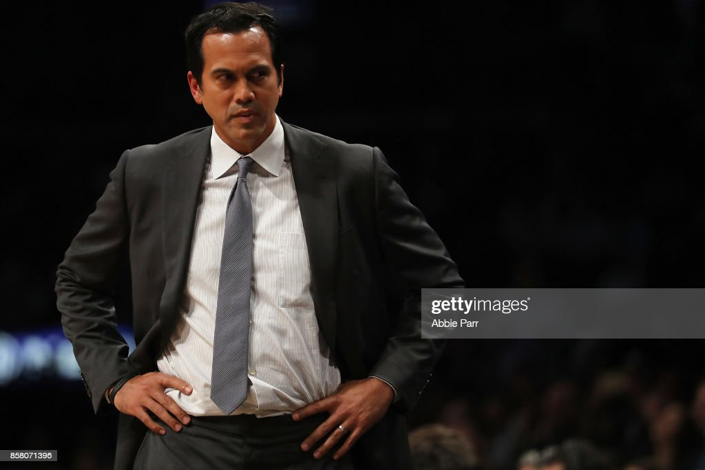 Erik Spoelstra of the Miami Heat reacts in the first half during their Pre Season game at Barclays Center on October 5, 2017 in the Brooklyn Borough of New York City.