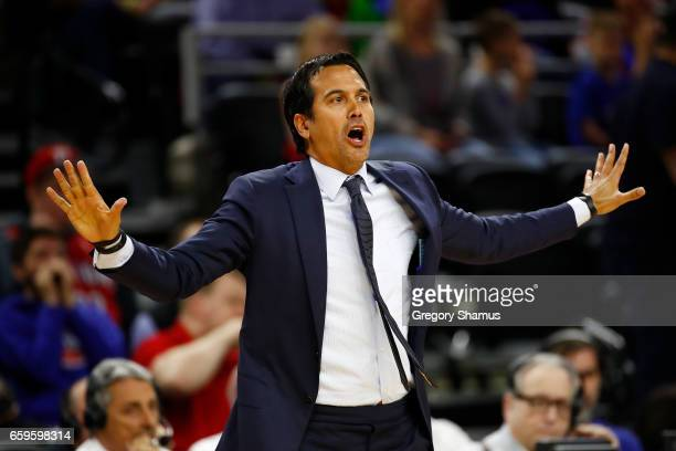 Erik Spoelstra of the Miami Heat reacts on the bench while playing the Detroit Pistons at the Palace of Auburn Hills on March 28 2017 in Auburn Hills...