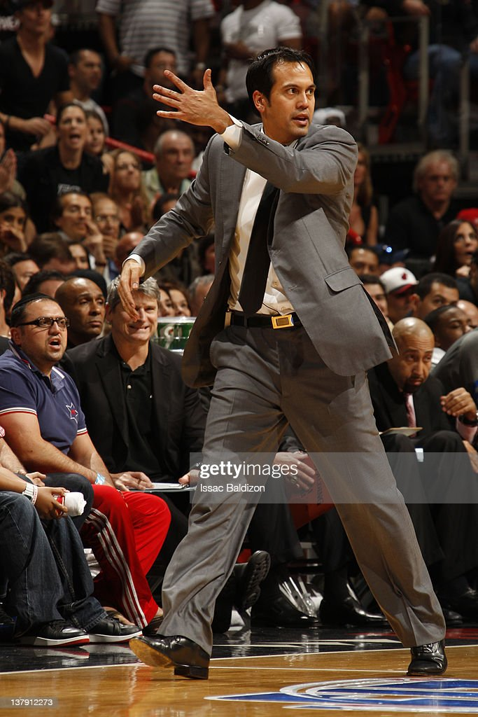 Erik Spoelstra of the Miami Heat reacts to the game action against the Chicago Bulls on January 29, 2012 at American Airlines Arena in Miami, Florida.