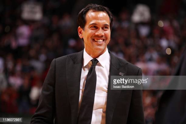 Erik Spoelstra of the Miami Heat seen during the game against the Philadelphia 76ers on April 9, 2019 at American Airlines Arena in Miami, Florida....