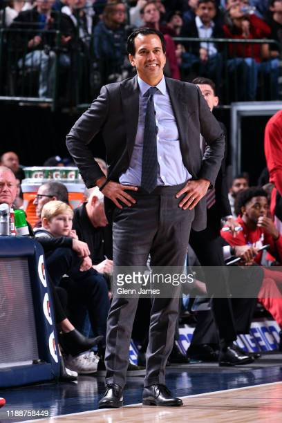 Erik Spoelstra of the Miami Heat smiles during the game against the Dallas Mavericks on December 14, 2019 at the American Airlines Center in Dallas,...