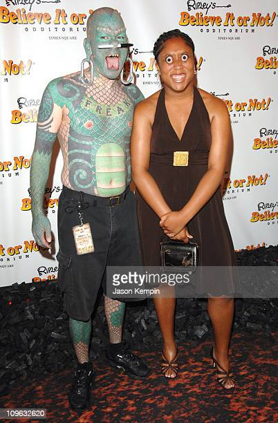 Erik Sprague The Lizardman and Jalisa Thompson during Ripley's Believe It Or Not Celebration Opening Arrivals at Ripley's Times Square in New York...