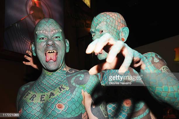 Erik Sprague The Lizardman attends the Lizardman wax figure unveiling at the Ripley's Believe It or Not Odditorium on June 24 2011 in New York United...