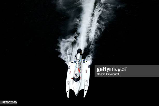 Erik Stark of Sweden of Maverick F1 in action during the F1H2O UIM World Championship Grand Prix of London on June 17 2018 in London England