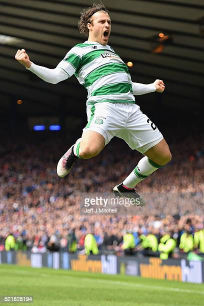 Erik Sviachenko of Celtic celebrates after scoring their first goal during the William Hill Scottish Cup semi final between Rangers and Celtic at...