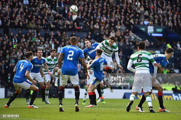 Erik Sviachenko of Celtic scores their first goal during the William Hill Scottish Cup semi final between Rangers and Celtic at Hampden Park on April...