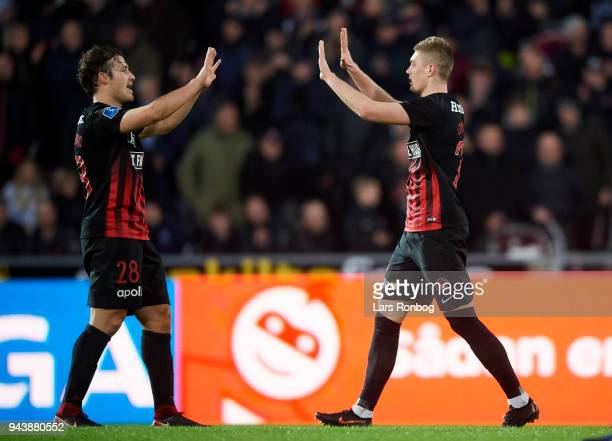 Erik Sviatchenko and Artem Dovbyk of FC Midtjylland celebrate after scoring their third goal during the Danish Alka Superliga match between FC...