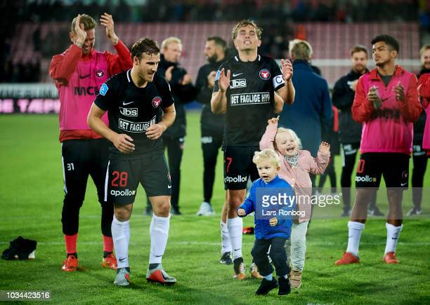 Erik Sviatchenko and Jakob Poulsen of FC Midtjylland celebrate after the Danish Superliga match between FC Midtjylland and FC Copenhagen at MCH Arena...