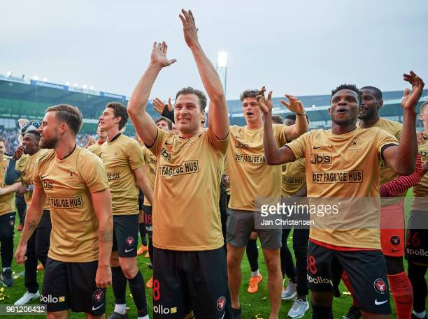 Erik Sviatchenko and teammates of FC Midttjylland celebrating the Danish Championship after the Danish Alka Superliga match between FC Midtjylland...