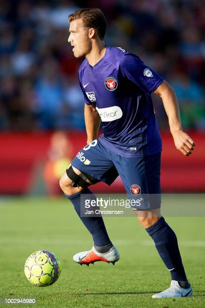 Erik Sviatchenko controls the ball during the Danish Superliga match between AaB Aalborg and FC Midtjylland at Aalborg Portland Park on July 20 2018...