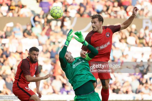 Erik Sviatchenko heading the ball during the UEFA Champions League Qualification 2nd Leg match between FC Midtjylland and FC Astana at MCH Arena on...