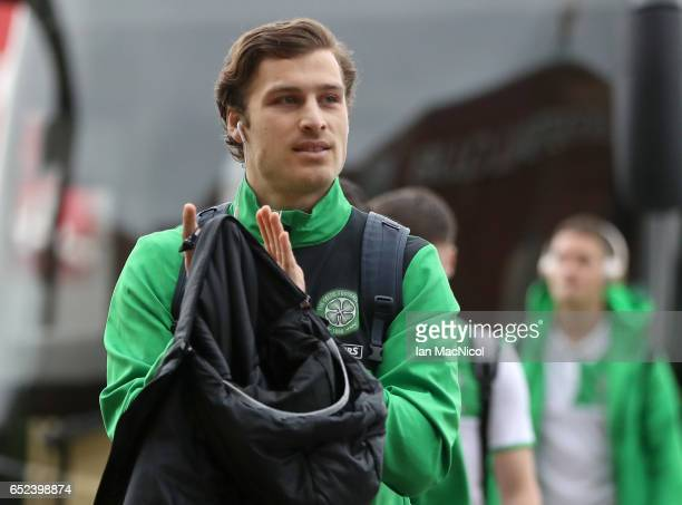 Erik Sviatchenko of Celtic arrives at the stadium prior to the Ladbrokes Scottish Premiership match between Celtic and Rangers at Celtic Park on...