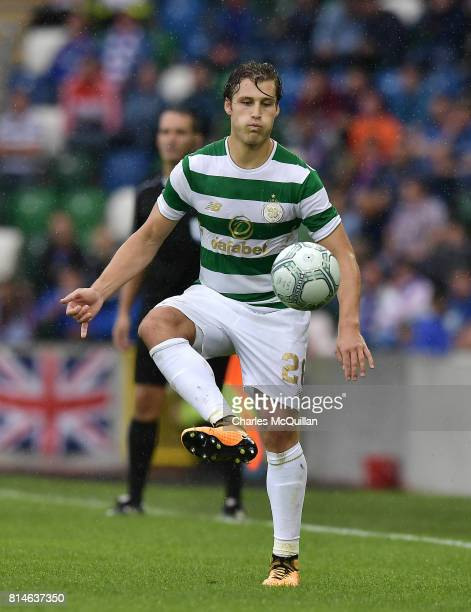 Erik Sviatchenko of Celtic during the Champions League second round first leg qualifying game between Linfield and Celtic at Windsor Park on July 14...