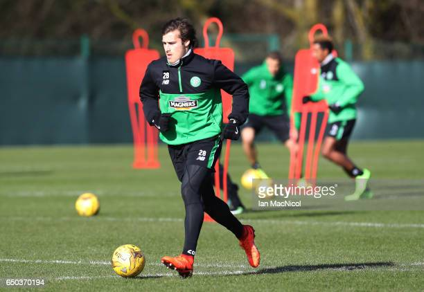 Erik Sviatchenko of Celtic is seen during a Celtic training session at Lennoxtown Training Centre near Glasgow on March 9 2017 in Glasgow Scotland