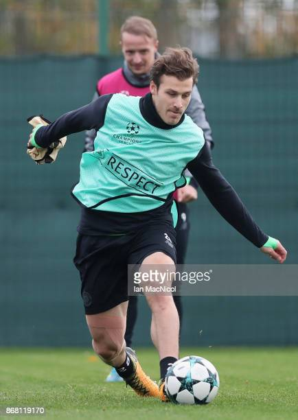 Erik Sviatchenko of Celtic trains during the Celtic Training Session prior to the Group B UEFA Champions League match between Celtic and Bayern...