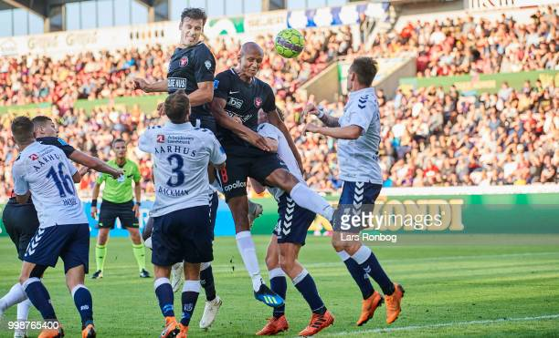 Erik Sviatchenko of FC Midtjylland and Ayo Simon Okosun of FC Midtjylland in action during the Danish Superliga match between FC Midtjylland and AGF...