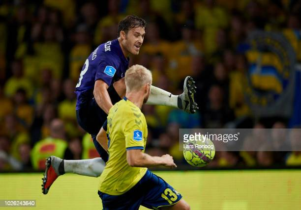 Erik Sviatchenko of FC Midtjylland and Johan Larsson of Brondby IF compete for the ball during the Danish Superliga match between Brondby IF and FC...