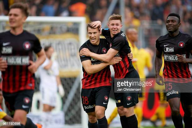 Erik Sviatchenko of FC Midtjylland and Mads Thychosen of FC Midtjylland celebrate after the 10 goal from Marc Dal Hende of FC Midtjylland during the...