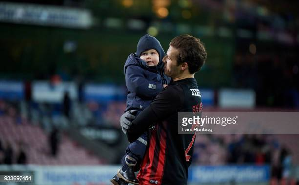 Erik Sviatchenko of FC Midtjylland and with his son celebrate after the Danish Alka Superliga match between FC Midtjylland and Sonderjyske at MCH...