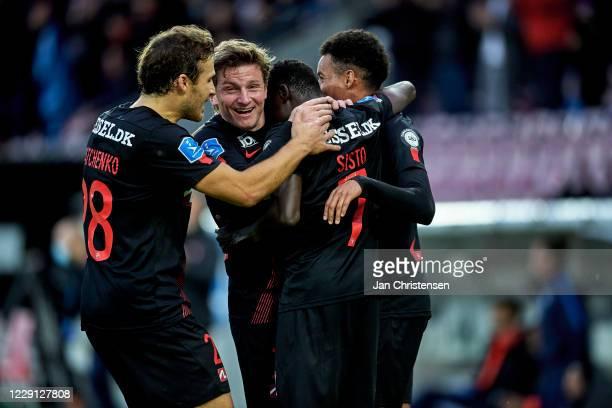 "Erik Sviatchenko of FC Midtjylland, Anders Dreyer of FC Midtjylland, Pione Sisto of FC Midtjylland and Paulo Victor Da Silva ""Paulinho"" of FC..."