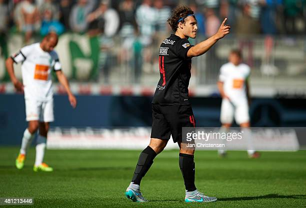 Erik Sviatchenko of FC Midtjylland celebrate after the Danish Alka Superliga match between FC Midtjylland and Viborg FF at MCH Arena on July 18 2015...
