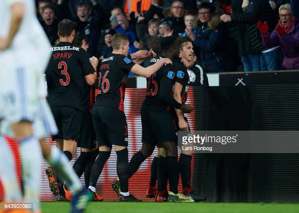 Erik Sviatchenko of FC Midtjylland celebrates after scoring their second goal during the Danish Alka Superliga match between FC Midtjylland and FC...