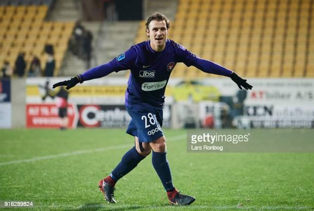 Erik Sviatchenko of FC Midtjylland celebrates after the Danish Alka Superliga match between AC Horsens and FC Midtjylland at CASA Arena Horsens on...