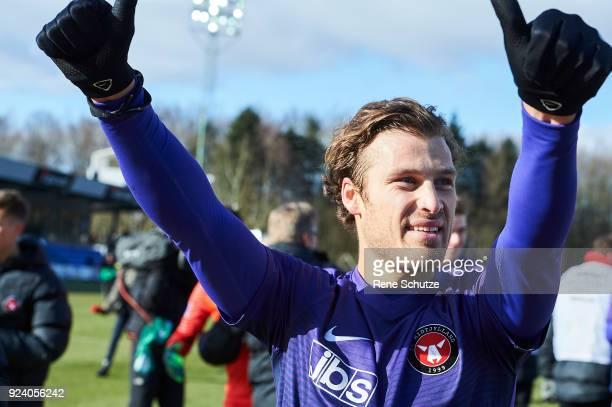 Erik Sviatchenko of FC Midtjylland celebrates after the Danish Alka Superliga match between Hobro IK and FC Midtjylland at DS Arena on February 25...