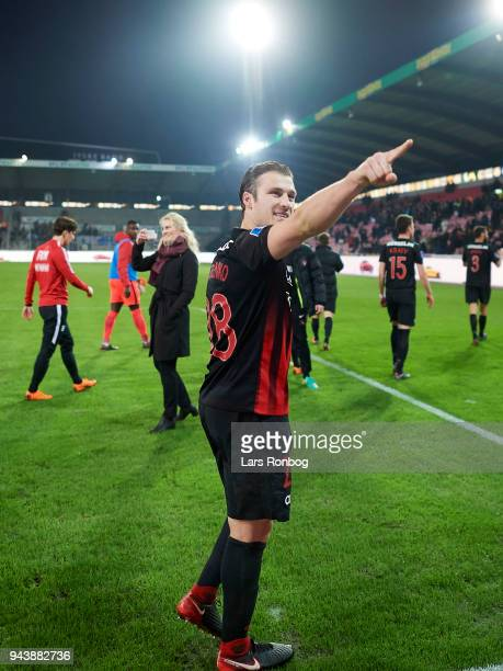 Erik Sviatchenko of FC Midtjylland celebrates after the Danish Alka Superliga match between FC Midtjylland and FC Copenhagen at MCH Arena on April 9...