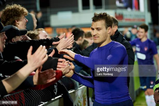 Erik Sviatchenko of FC Midtjylland celebrates after the Danish DBU Pokalen Cup quarterfinal match between Hobro IK and FC Midtjylland at DS Arena on...