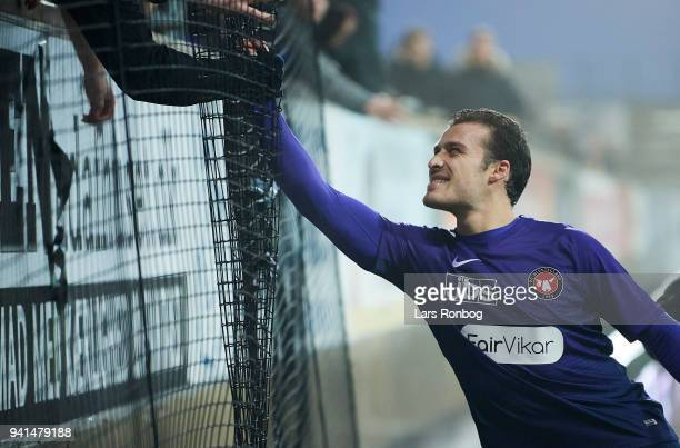 Erik Sviatchenko of FC Midtjylland celebrates with fans after the Danish Alka Superliga match between AC Horsens and FC Midtjylland at CASA Arena...