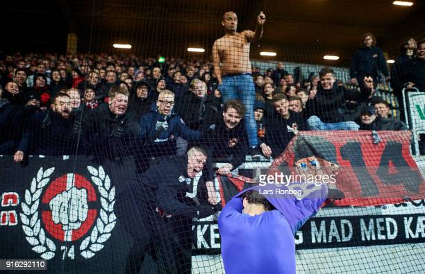 Erik Sviatchenko of FC Midtjylland celebrates with the fans after the Danish Alka Superliga match between AC Horsens and FC Midtjylland at CASA Arena...