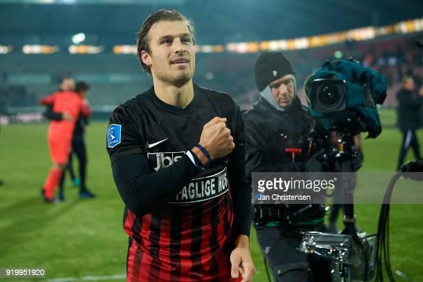 Erik Sviatchenko of FC Midtjylland celebrating with fans after the Danish Alka Superliga match between FC Midtjylland and FC Copenhagen at MCH Arena...